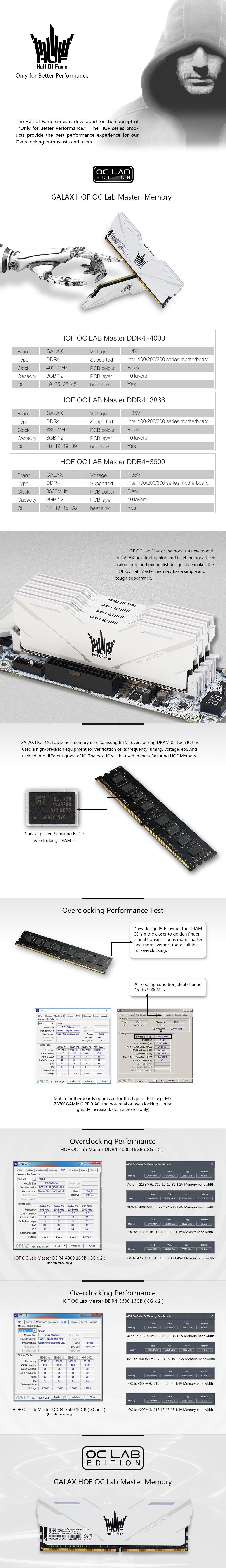 GALAX HOF OC Lab Master DDR4-4000 16G (8G*2) - RAM